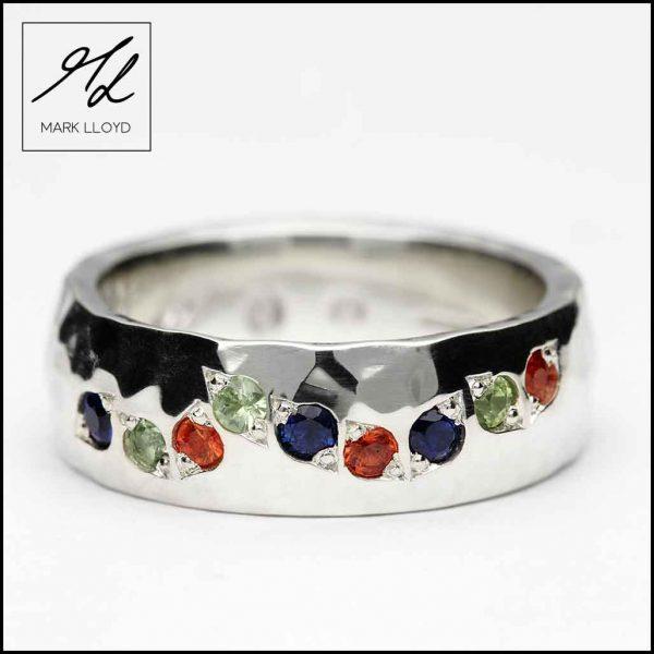 Joska-9ct-White-Gold-hammered-coloured-Sapphire-Ring,-£850