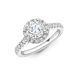 Diamond halo ring with diamond set shoulders