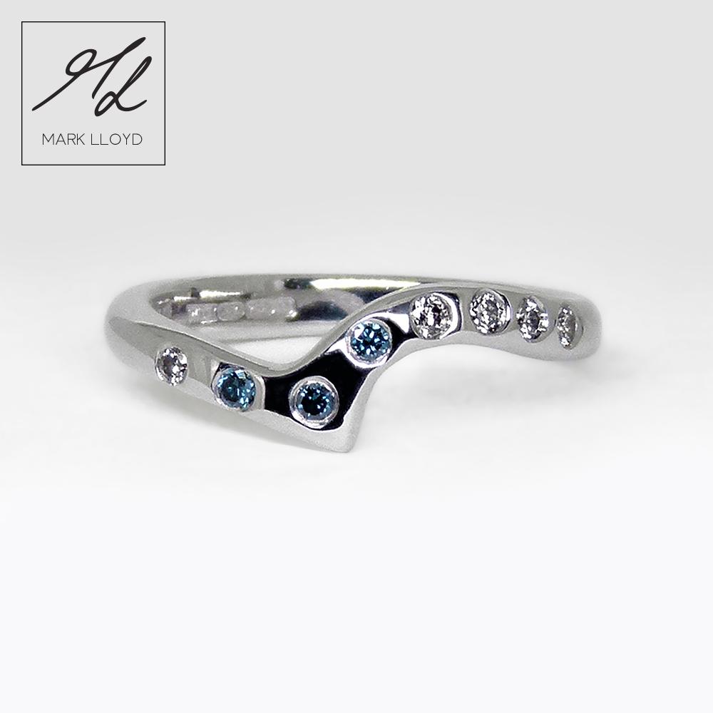 Rose Gold-Shaped-Ring-Blue-Diamonds